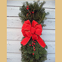 Vertical Door Swag - Gold Edge Poof Bow & Christmas Swags