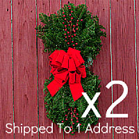 Door Swags - Pull Bows PAIR ($24.00 each) & Christmas Swags